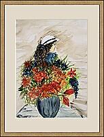 Vase mit Frau; 30x40 cm