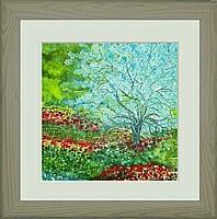 blauer Baum; 24x24 cm