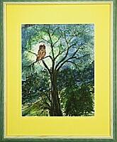 Eule im Baum; 28x36 cm